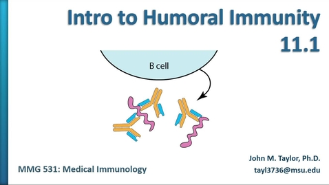 Thumbnail for entry MMG531 (11.1) - Intro to Humoral Immunity