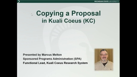Thumbnail for entry Copying a Proposal in KC