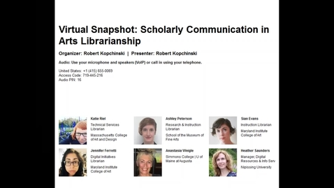 Thumbnail for entry Virtual Snapshot: Scholarly Communication in Arts Librarianship