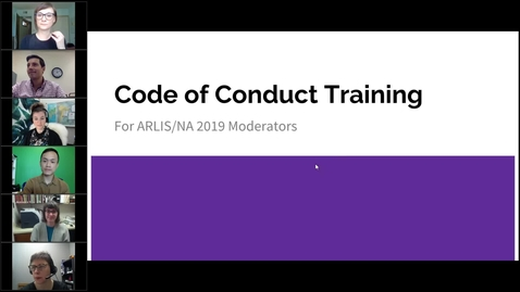 Thumbnail for entry Code of Conduct Training for ARLIS/NA 2019 Moderators