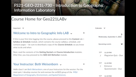 Thumbnail for entry Instructor Introduction: Beth Weisenborn (FS21 GEO 221LAB, section 730)