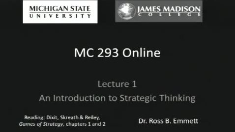 Thumbnail for entry Lecture 1: Introduction to Strategic Thinking
