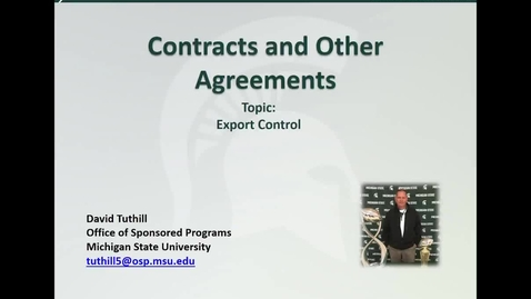 Thumbnail for entry Contracts and Other Agreements: Export Control (D. Tuthill)