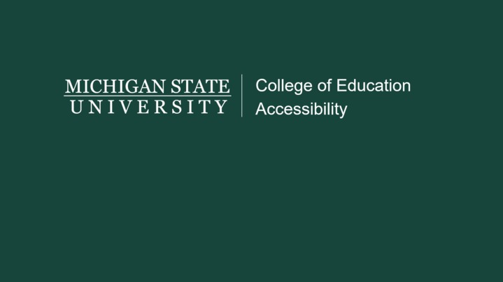 Thumbnail for channel College of Education Accessibility