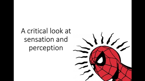 Thumbnail for entry A Critical Look at Sensation and Perception