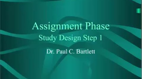 Thumbnail for entry HM803 Assignment Phase Study Design Step 1