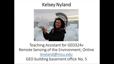 Thumbnail for entry Welcome message to Geo 324v - Remote Sensing of the Environment