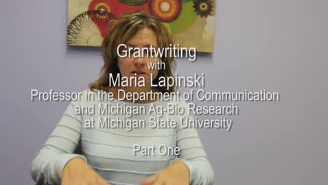 Thumbnail for entry Maria Lapinski - Grantwriting - Part One