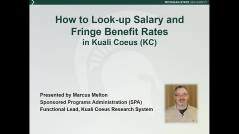 Thumbnail for entry How to Look-up Salary and Fringe Benefit Rates in KC