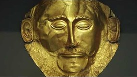 Thumbnail for entry Mask of Agamemnon, from shaft grave V, grave circle A, Mycenae, c.1550-1500 B.C.E.