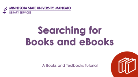 Thumbnail for entry Searching for Books and eBooks