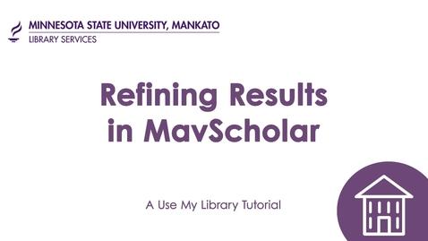 Thumbnail for entry Refining Results in MavScholar