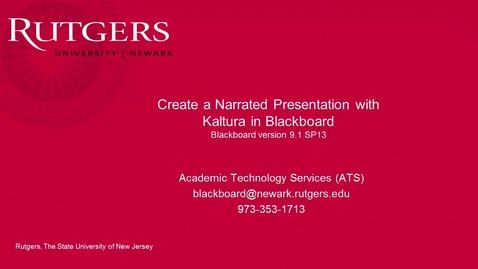 Thumbnail for entry Faculty- Narrated Presentation with Kaltura in Blackboard