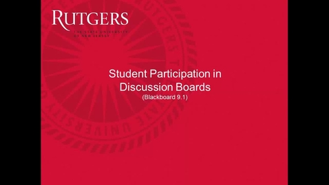 Thumbnail for entry Students- How to participate in discussion boards using Blackboard 9.1 (1)
