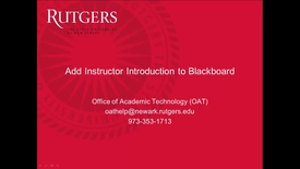 Thumbnail for entry Create instructor introductions in Blackboard
