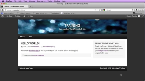 Thumbnail for entry Wordpress - setting the first page of the site to a static page