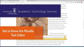 Thumbnail for entry Get to Know the Moodle Text Editor