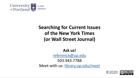 Thumbnail for entry Searching for Current Issues of the NYT or WSJ