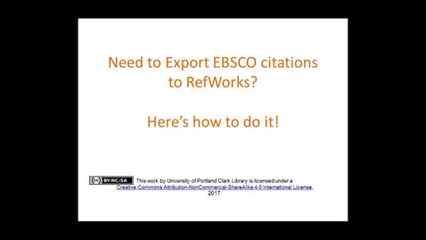 Thumbnail for entry How to send EBSCO database citations to your RefWorks account