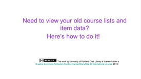 Thumbnail for entry Past Courses and Usage Data