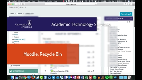 Thumbnail for entry New in Moodle: The Recycle Bin