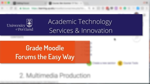 Thumbnail for entry Moodle Forums: Using Ratings for Assessment