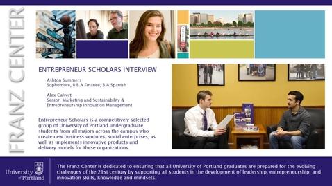 Thumbnail for entry Entrepreneur Scholars Interview - Alex Calvert