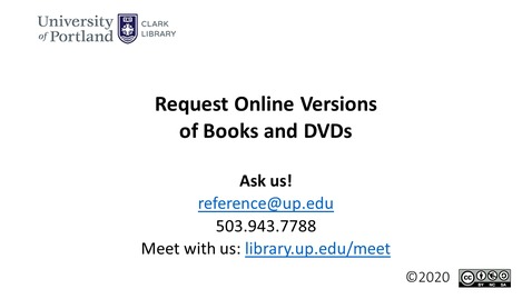 Thumbnail for entry Request Online Versions of Books and DVDs