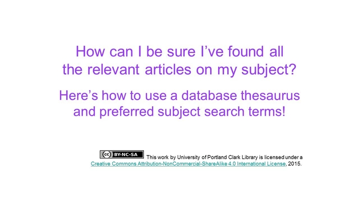 Using A Thesaurus And Preferred Subject Terms In Your Database
