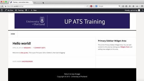 Thumbnail for entry Wordpress Tutorial: Add a UP User to Your Site