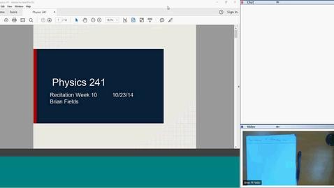 Thumbnail for entry Physics 241 Recitation 9 2018-07-09