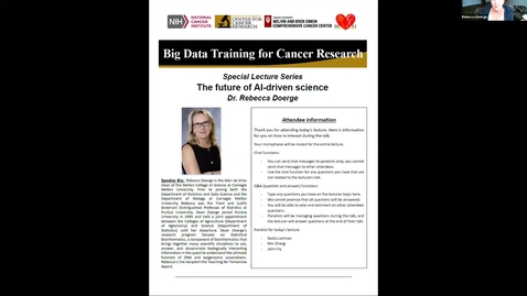 Thumbnail for entry Big Data Training for Cancer Research Special Lecture Series: Dr. Rebecca Doerge