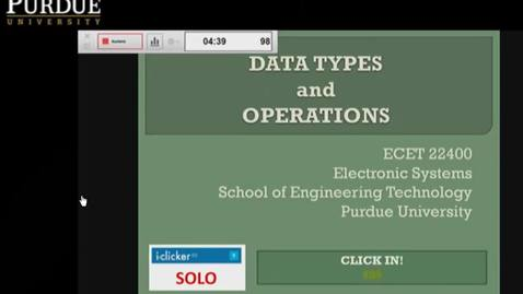 Thumbnail for entry Clip of ECET 22400 DST - LEC 09 - Data Types and Operators