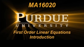 Thumbnail for entry First Order Linear Equations Intro