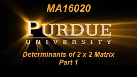 Thumbnail for entry Determinants of 2 x 2 Matrix Part 1