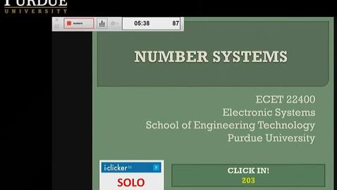 Thumbnail for entry Clip of ECET 22400 DST - LEC 08 - Number Systems
