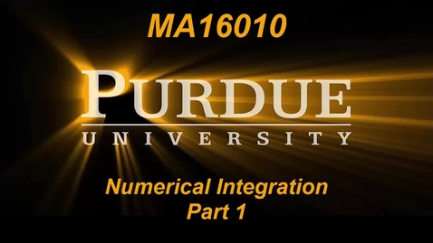 Thumbnail for entry Numerical Integration Part 1