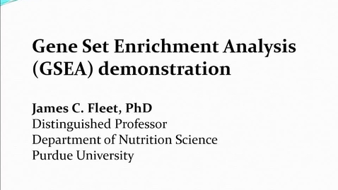 Thumbnail for entry Gene Set Enrichment Analysis demonstration