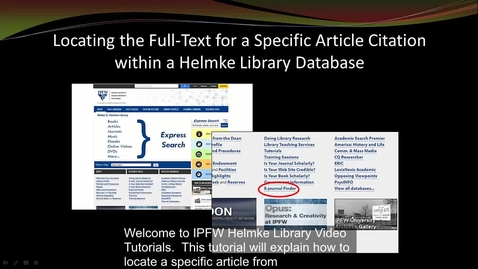 Thumbnail for entry Finding a Citation with E-Journal Finder - captioned.mp4