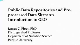 Thumbnail for entry Public databases, GEO introduction, and GEO2R demonstration