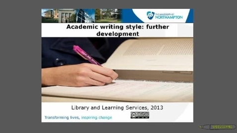 Thumbnail for entry Academic Writing Style Further Development