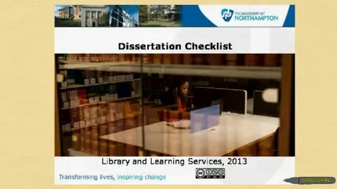 Thumbnail for entry Dissertation checklist